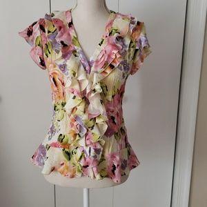 Flirty Floral Button Down Blouse